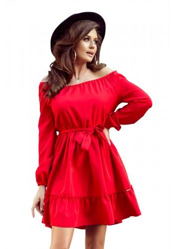Dámské pohodlné šaty s volány v červené barvě