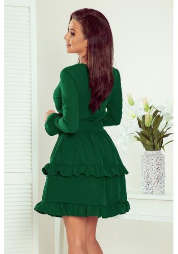 Dámské společenské šaty s volány v zelené barvě