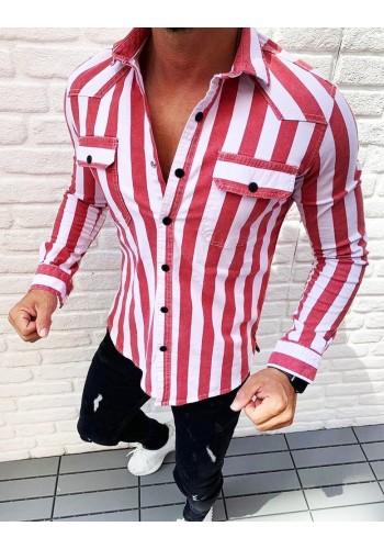Pánská žíhaná košile s dlouhým rukávem v červené barvě