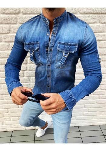 Riflová pánská košile modré barvy s kapsami na hrudi