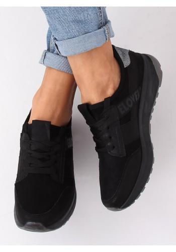 Semišové dámské tenisky černé barvy s brokátovou vložkou