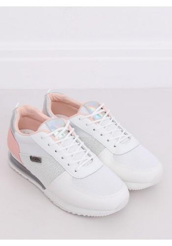 Dámské sportovní tenisky s holografickými vložkami v bílo-růžové barvě