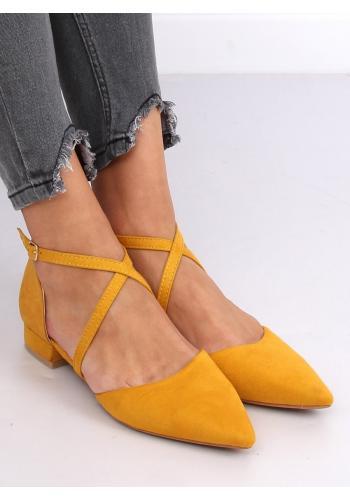 Semišové dámské balerínky žluté barvy s překříženými pásky