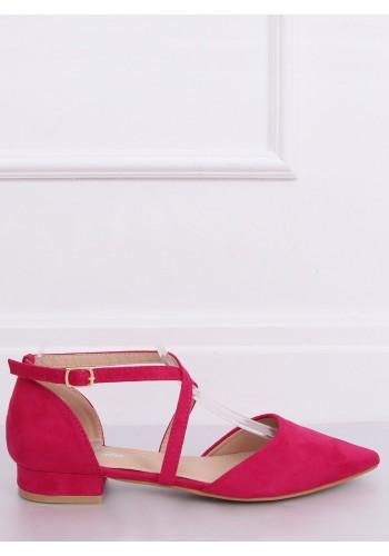 Dámské semišové balerínky s překříženými pásky v růžové barvě