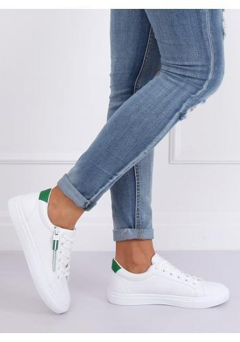 Klasické dámské tenisky bílo-zelené barvy s ozdobným zipem
