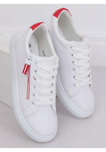 Dámské klasické tenisky s ozdobným zipem v bílo-červené barvě