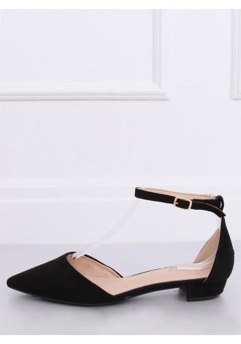Semišové dámské balerínky černé barvy na nízkém podpatku