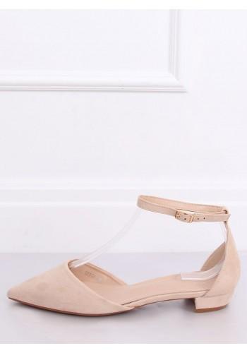 Dámské semišové balerínky na nízkém podpatku v béžové barvě