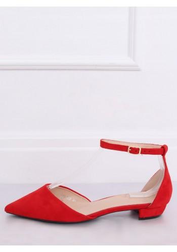 Červené semišové balerínky na nízkém podpatku pro dámy