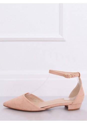 Semišové dámské balerínky růžové barvy na nízkém podpatku