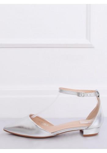 Dámské elegantní balerínky na nízkém podpatku ve stříbrné barvě