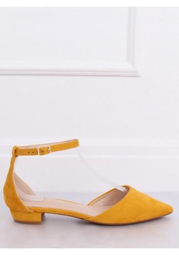 Žluté semišové balerínky na nízkém podpatku pro dámy
