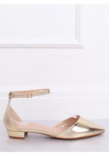 Elegantní dámské balerínky zlaté barvy na nízkém podpatku