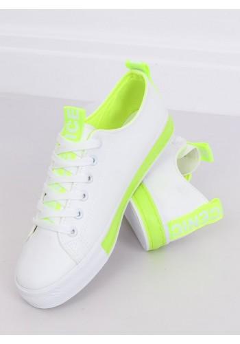 Klasické dámské tenisky bílo-zelené barvy