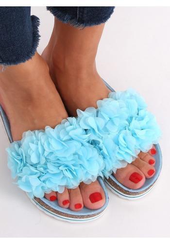 Květinové dámské pantofle světle modré barvy na korkové podrážce