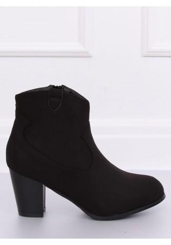 Černé semišové boty na stabilním podpatku pro dámy