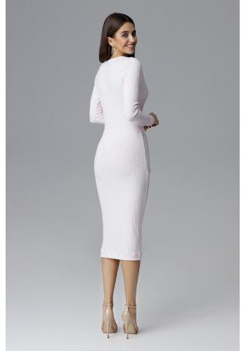 Dámské vypasované šaty s dlouhým rukávem v růžové barvě