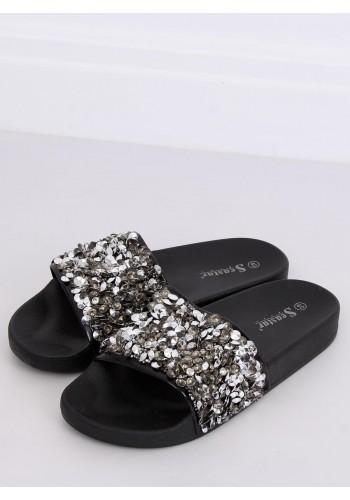 Černé módní pantofle s kamínky pro dámy