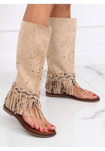 Béžové módní žabky s ažurovým svrškem pro dámy
