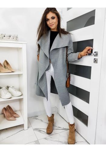 Jarní dámský kabát šedé barvy s vázáním v pase