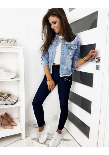 Přiléhavé dámské kalhoty tmavě modré barvy