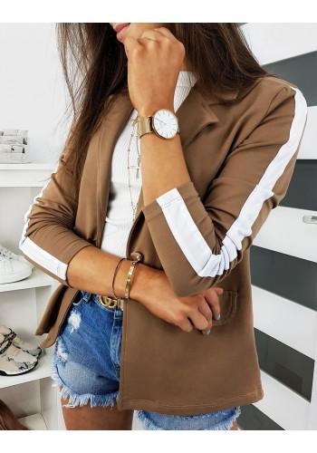 Teplákové dámské sako hnědé barvy s pásem na rukávech