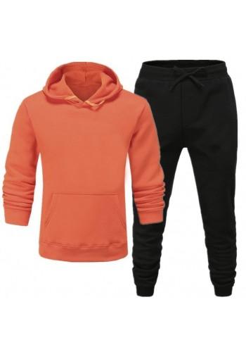 Oranžovo-černá tepláková souprava s kapucí pro pány