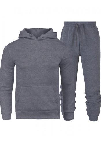 Tepláková pánská souprava tmavě šedé barvy s kapucí