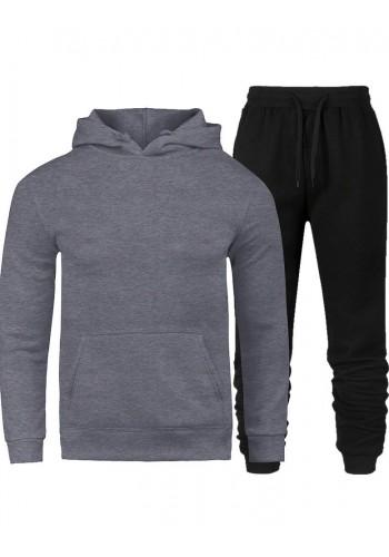 Tepláková pánská souprava šedo-černé barvy s kapucí