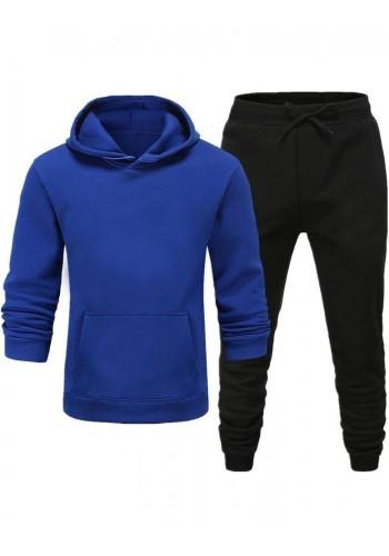 Pánská tepláková souprava s kapucí v modro-černé barvě