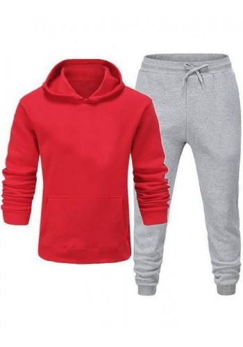 Červeno-šedá tepláková souprava s kapucí pro pány