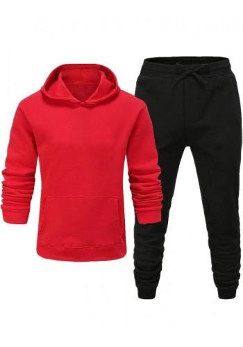Tepláková pánská souprava červeno-černé barvy s kapucí
