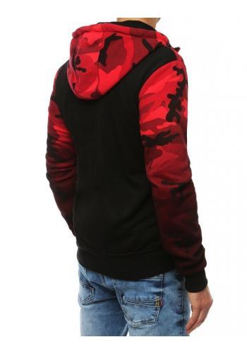 Maskáčová pánská mikina červené barvy s potiskem