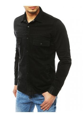 Černá riflová košile s kapsami pro pány