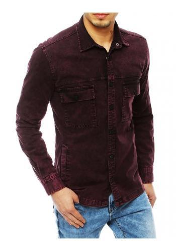 Riflová pánská košile vínové barvy s kapsami