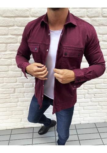Bordová riflová košile s kapsami pro pány