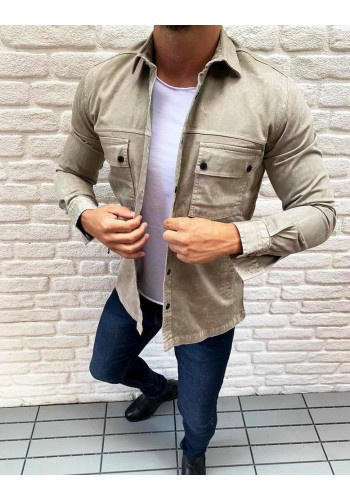 Pánská riflová košile s kapsami v béžové barvě