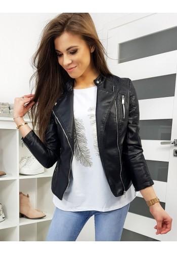 Černá koženková bunda na přechodné období pro dámy