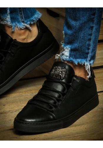 Pánské módní tenisky s ozdobou v černé barvě