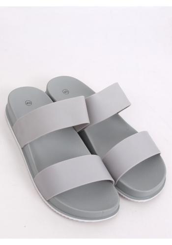 Dámské gumové pantofle na pohodlné podrážce v šedé barvě