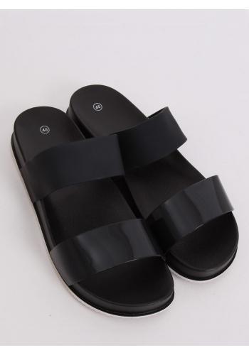 Gumové dámské pantofle černé barvy na pohodlné podrážce
