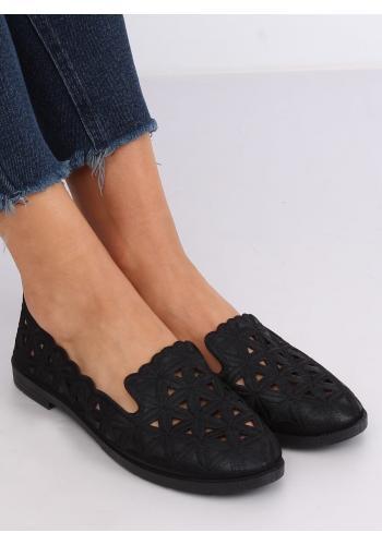 Azurové dámské balerínky černé barvy