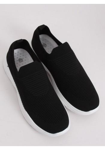 Dámské nazouvací tenisky s pružnou podrážkou v černé barvě