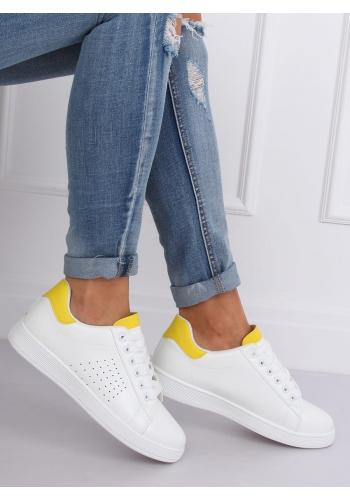 Klasické dámské tenisky bílo-žluté barvy