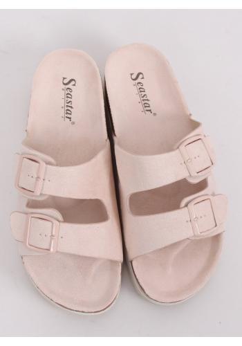 Semišové dámské pantofle béžové barvy na vysoké podrážce