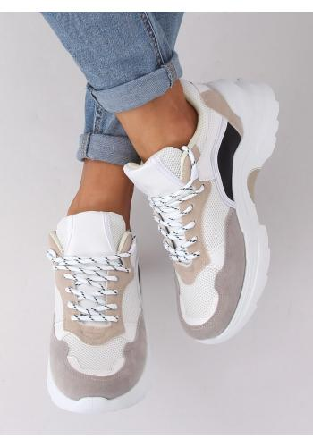 Bílo-béžové módní tenisky s vysokou podrážkou pro dámy