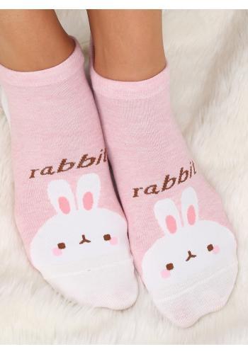 Krátké dámské ponožky růžové barvy s motivem zajíce