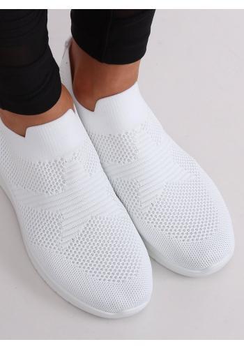 Bílé nazouvací tenisky s pružnou podrážkou pro dámy