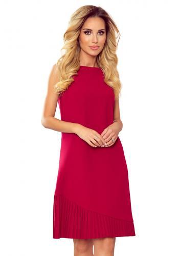 Dámské lichoběžníkové šaty s asymetrickým plisováním v červené barvě