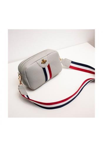 Mini dámská kabelka šedé barvy s kontrastním pásem
